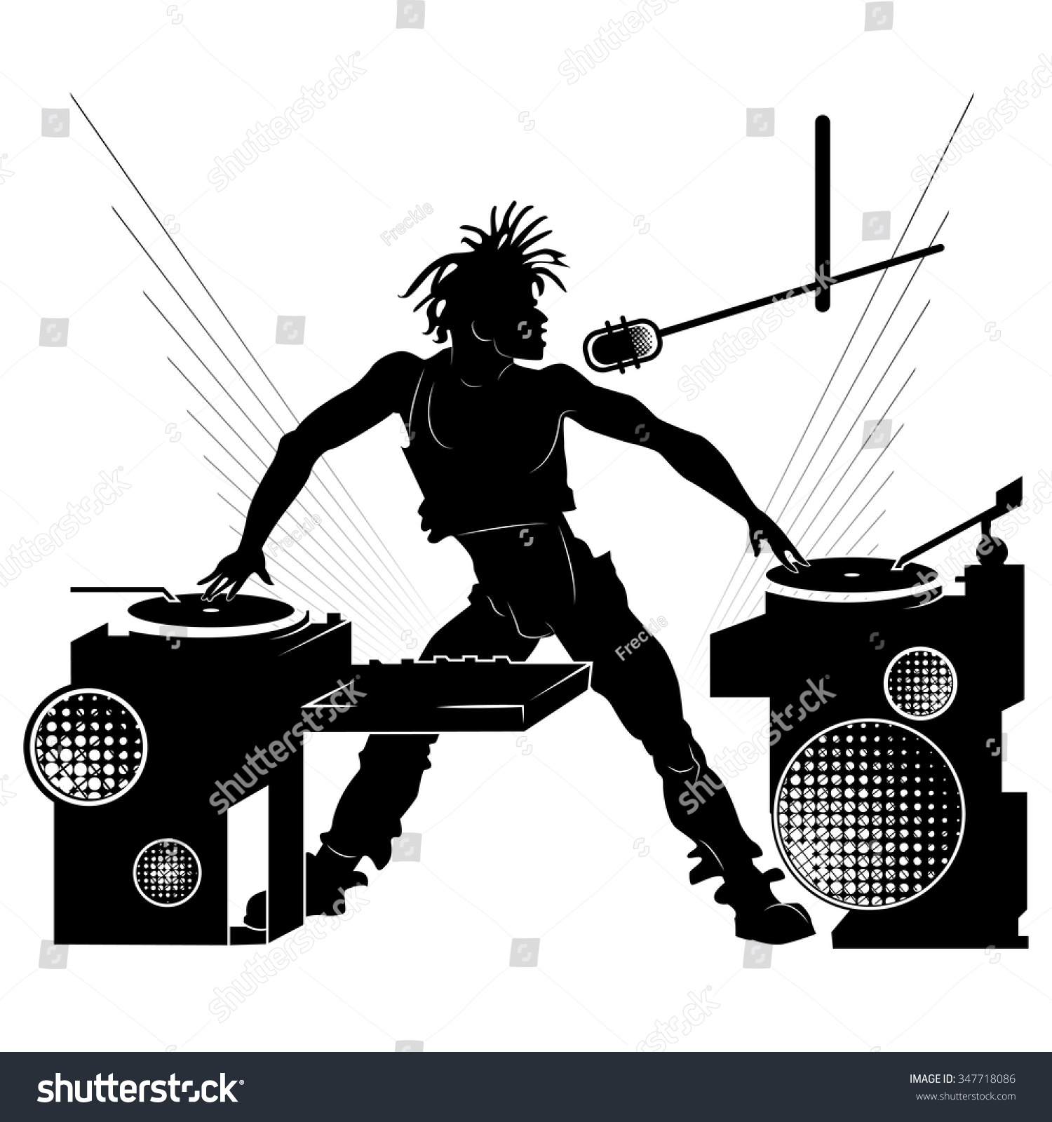 Black Silhouette Dj Party On White Stock Vector 347718086 ...