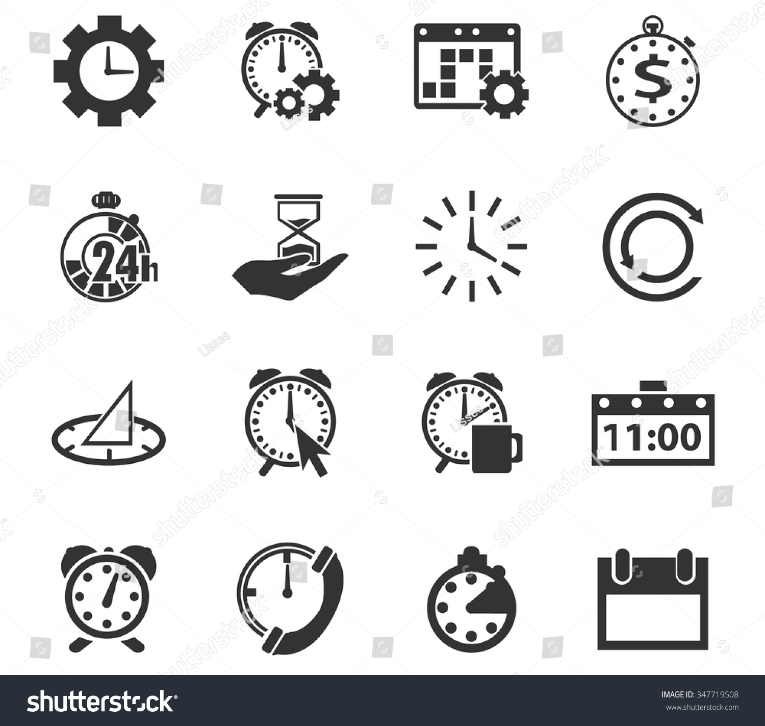 Time Symbol Web Icons Stock Vector Royalty Free 347719508