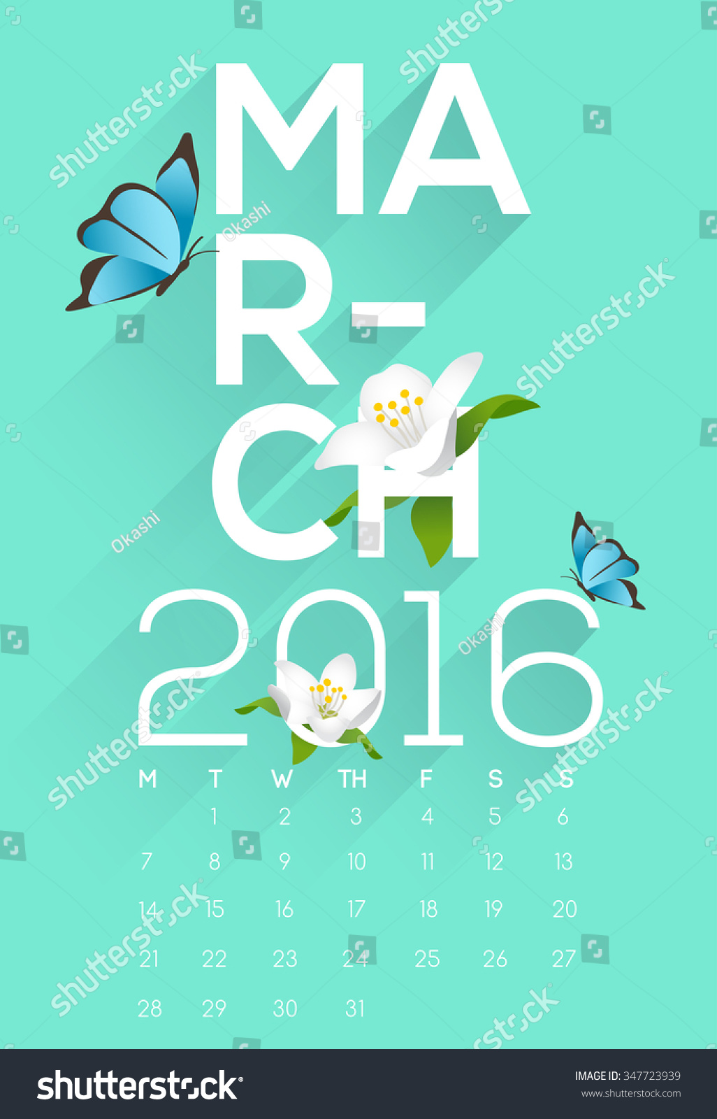 Calendar Typography Vector : Calendar march typography and decorative items