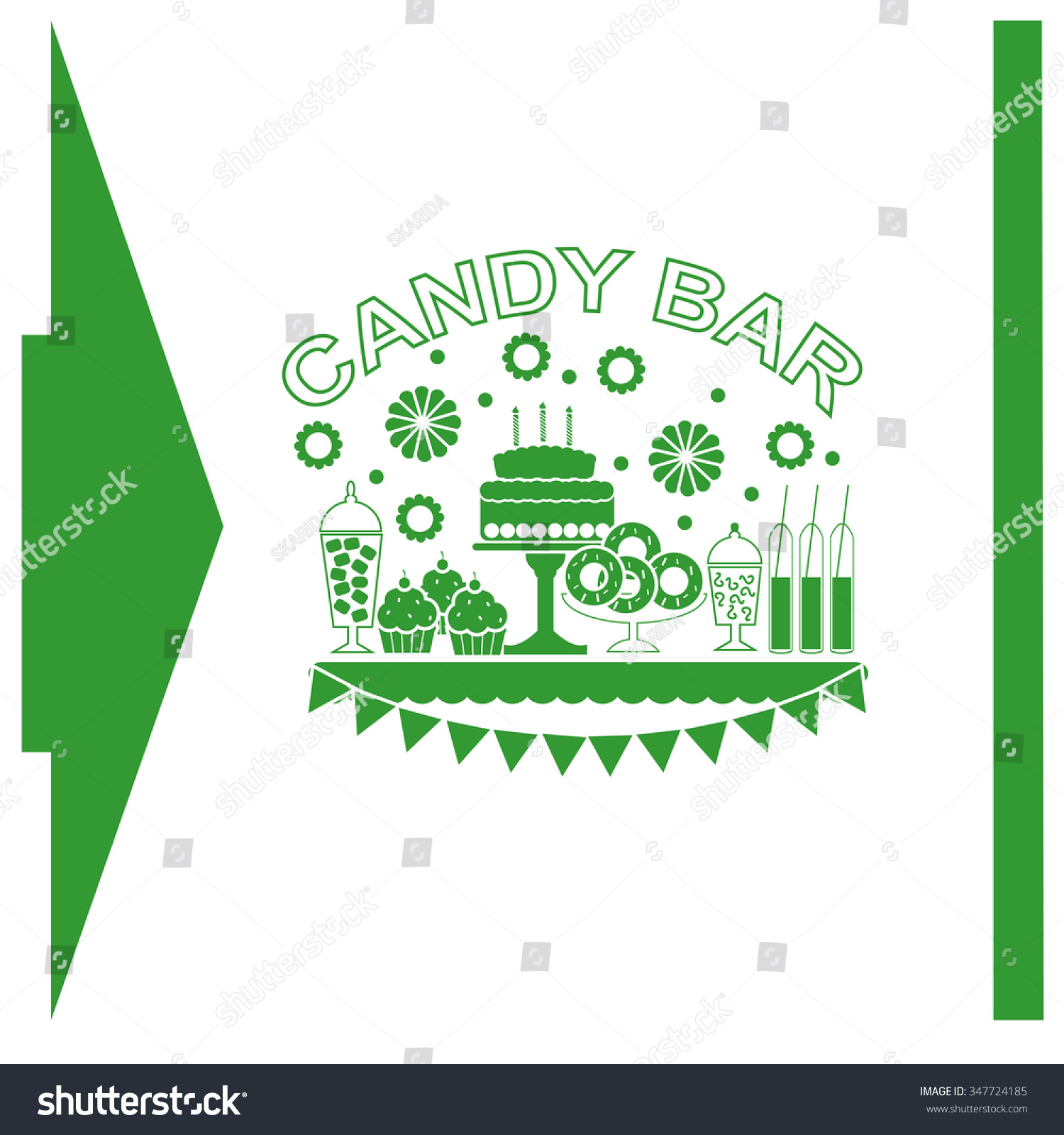 candy buffet flowers cakes wedding dessert stock vector