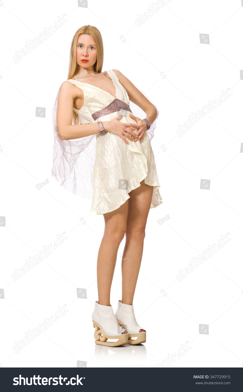 Woman Wearing White Dress Isolated On White Stock Photo ...