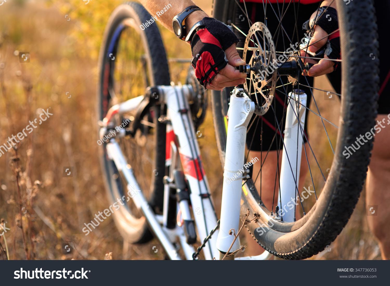 Bike Repair Young Man Repairing Mountain Stock Photo 347736053