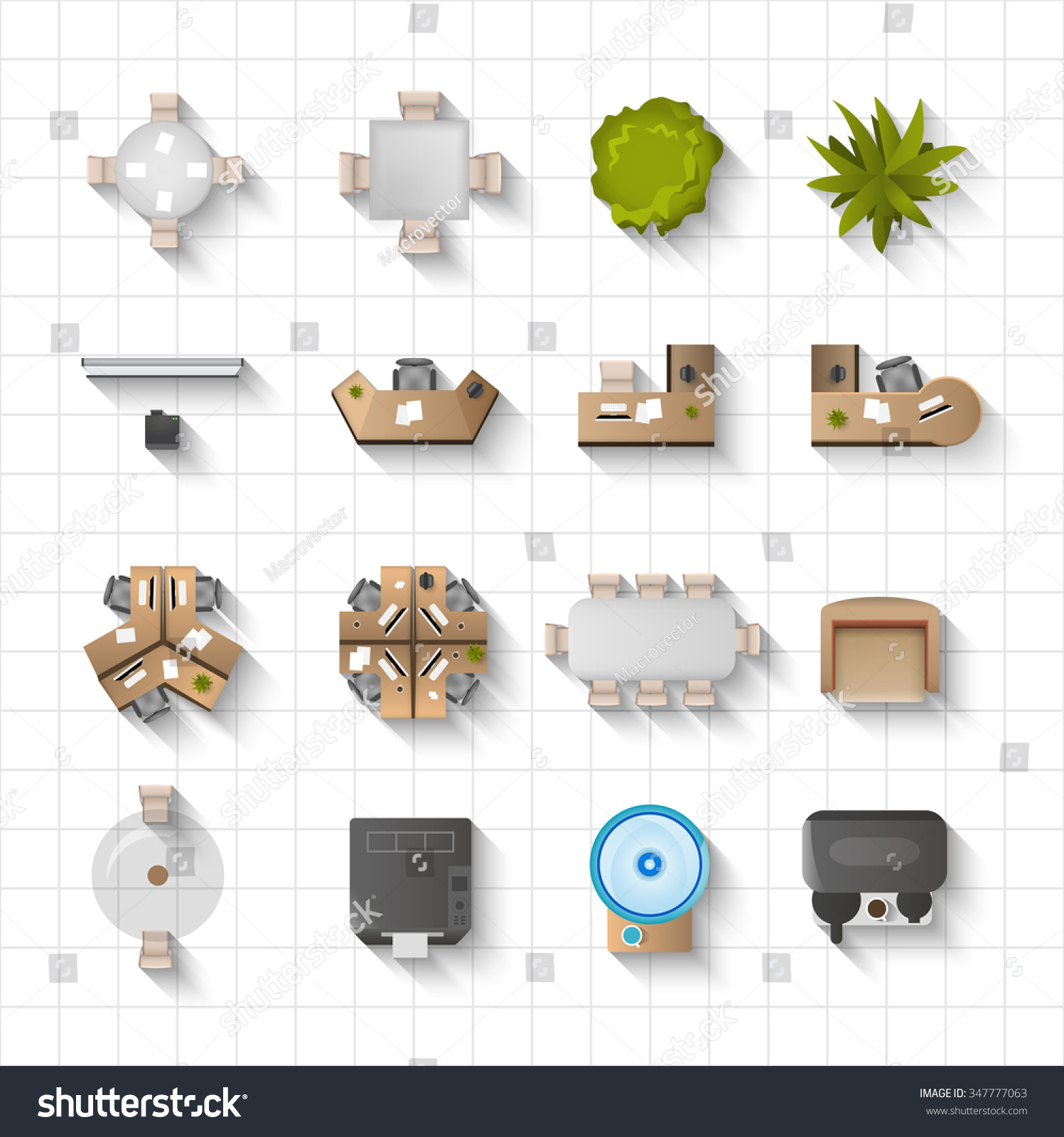 Furniture top view images - Office Interior Furniture Icons Top View Set Isolated Vector Illustration