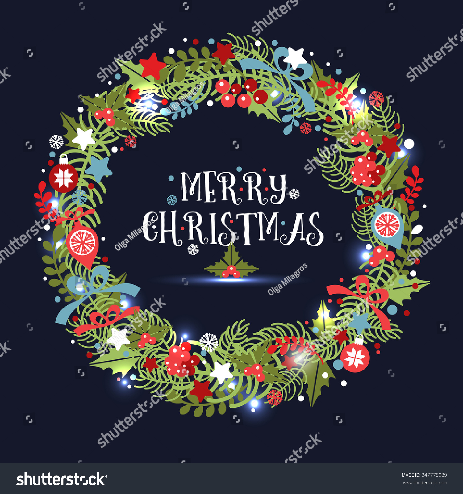 christmas wreath holiday vector background stock vector 347778089