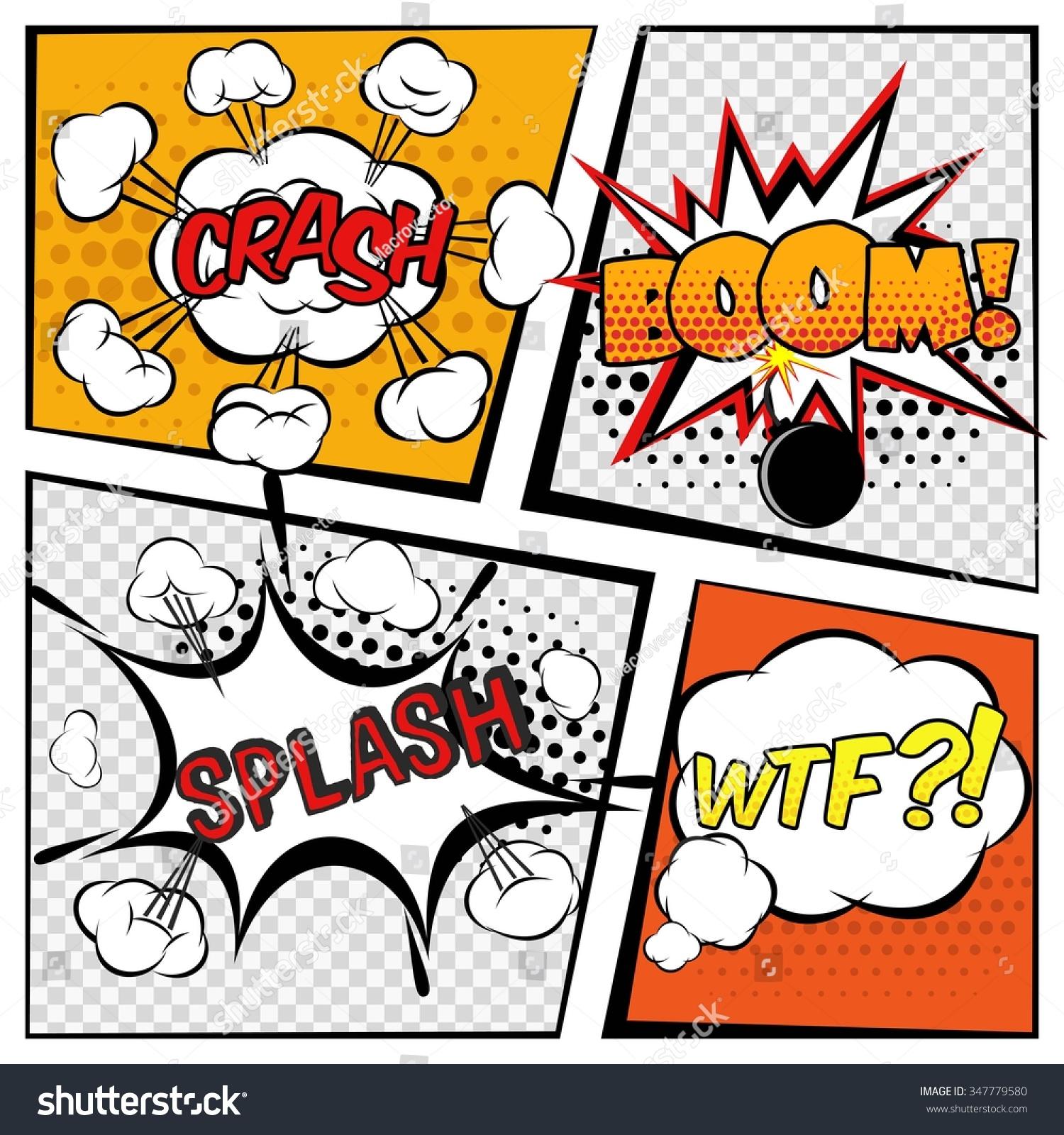 Comic Book Cover Tutorial Illustrator : Comic cartoons book page boom explosion stock vector