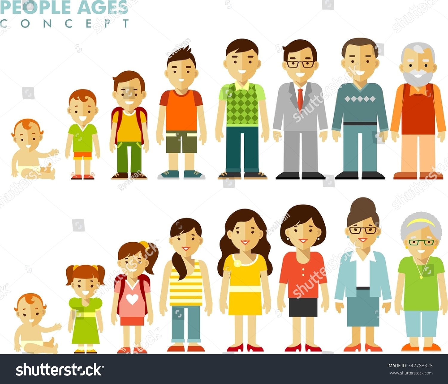 Stock Vector People Generations