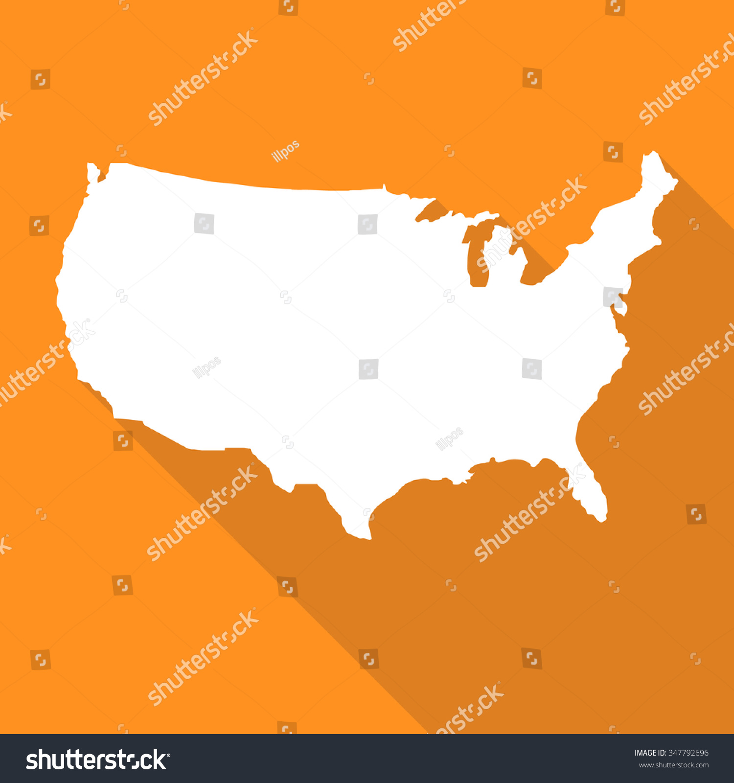 United States Americausa Map Flat Simple Stock Vector - Printable us map landscape