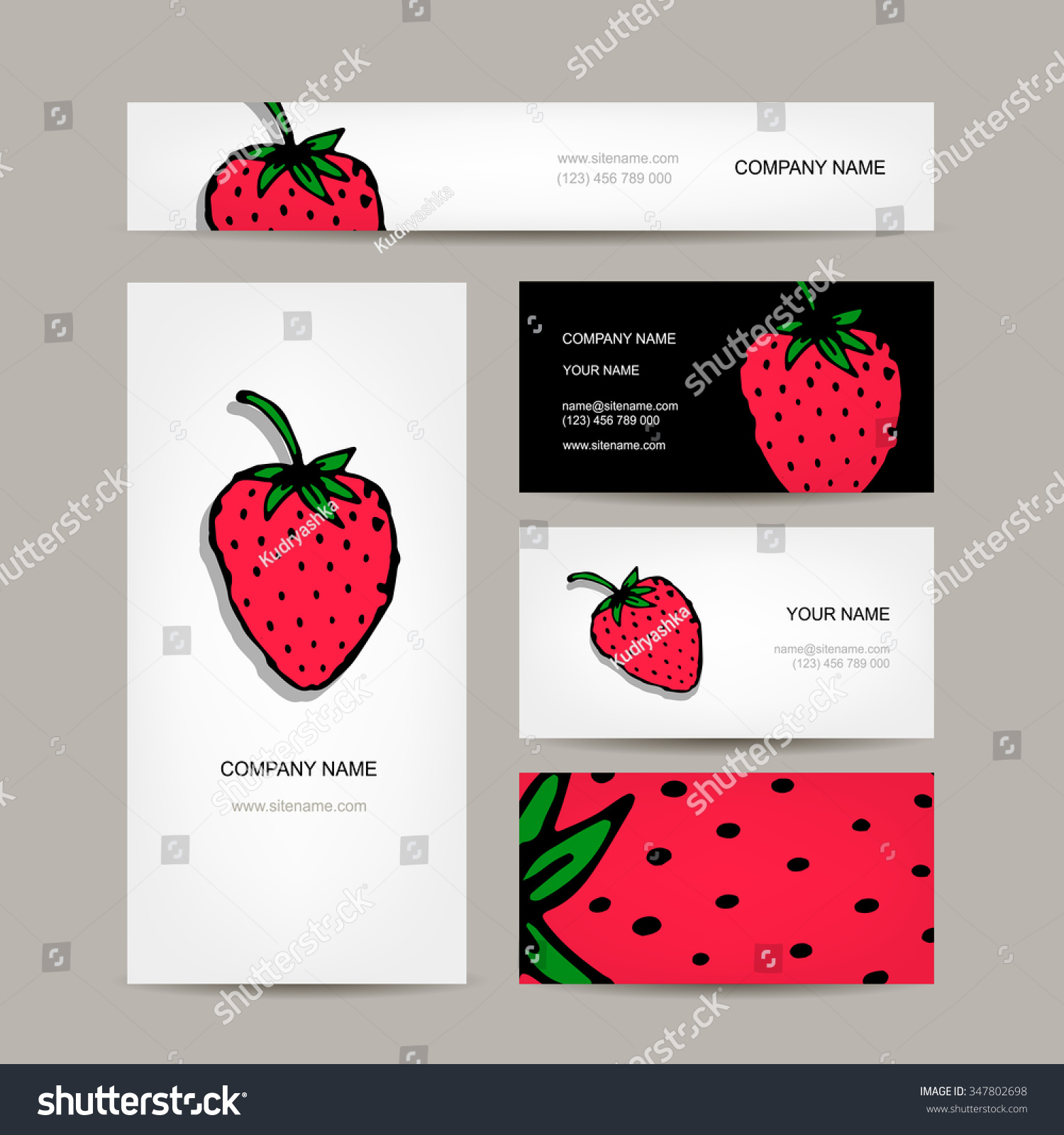 Business Cards Collection Strawberry Design Vector Stock Vector ...