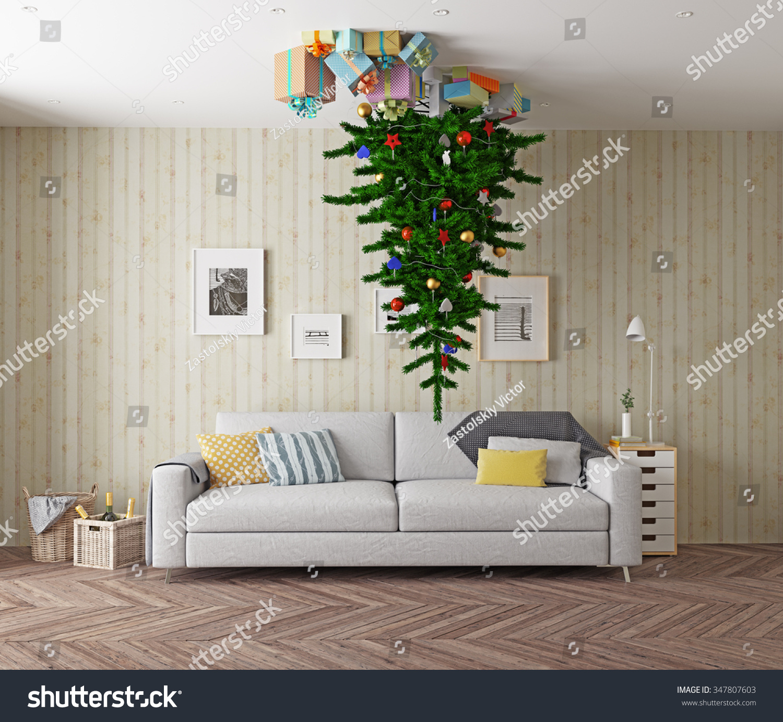 Room christmas tree on ceiling d stock illustration
