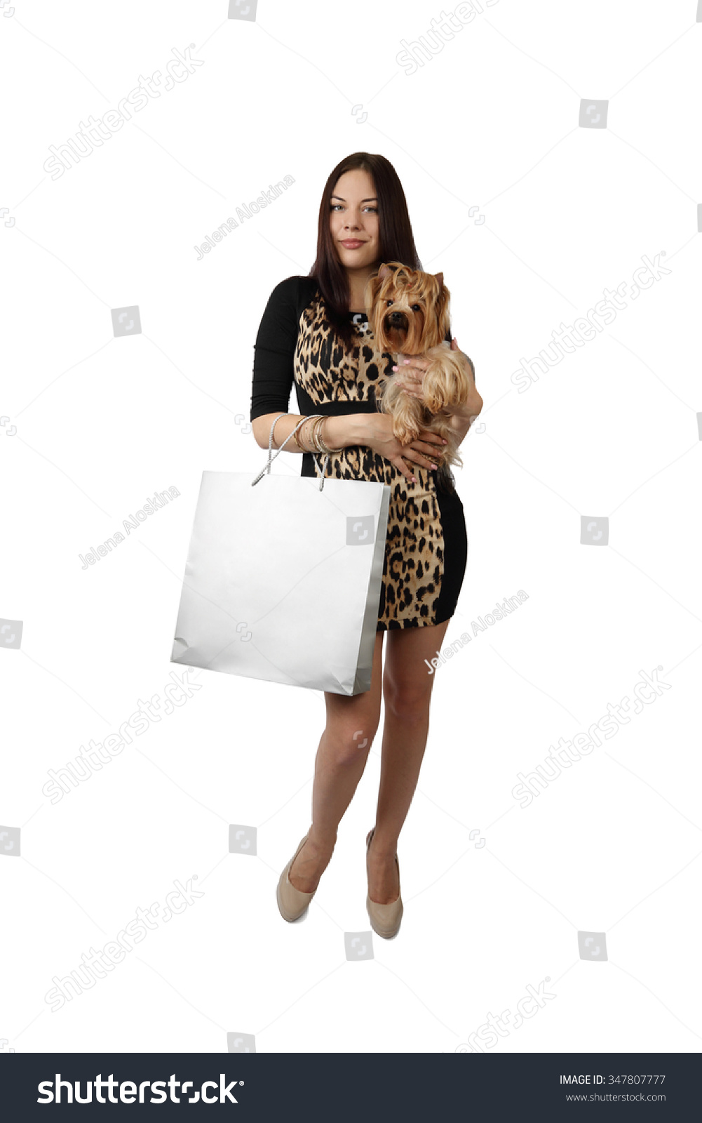 Woman posing with shopping bags isolated on white background full - Young Woman With Shopping Bag And Small Dog Yorkshire Terrier Stands In Full Height