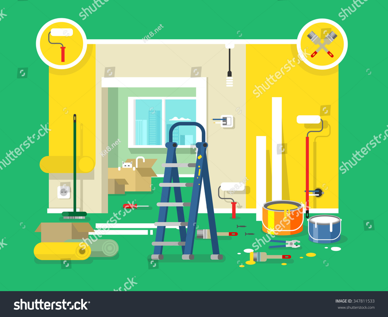 renovation apartment flat design room home stock vector 347811533