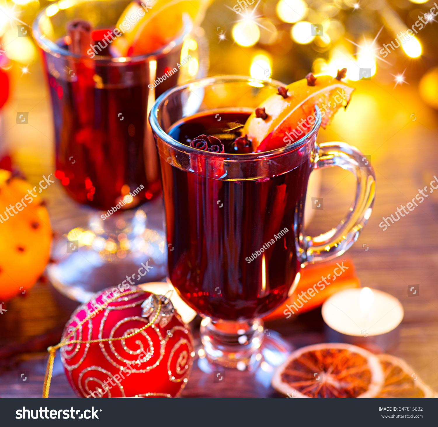Traditional Christmas Mulled Wine Hot Drink With Cinnamon