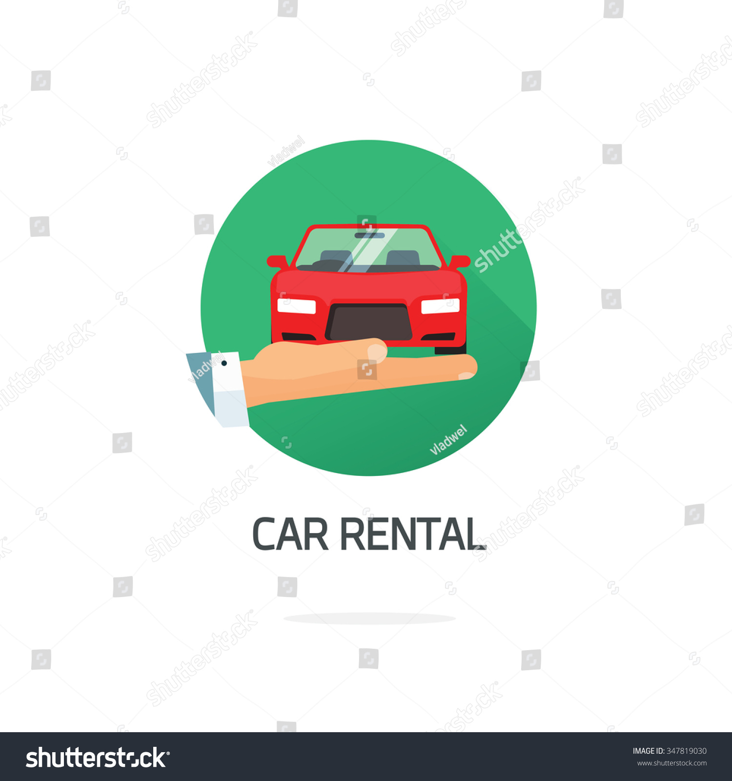 Rental Agencys: Rent A Car Agency Vector Logo Template, Hand Holding Auto