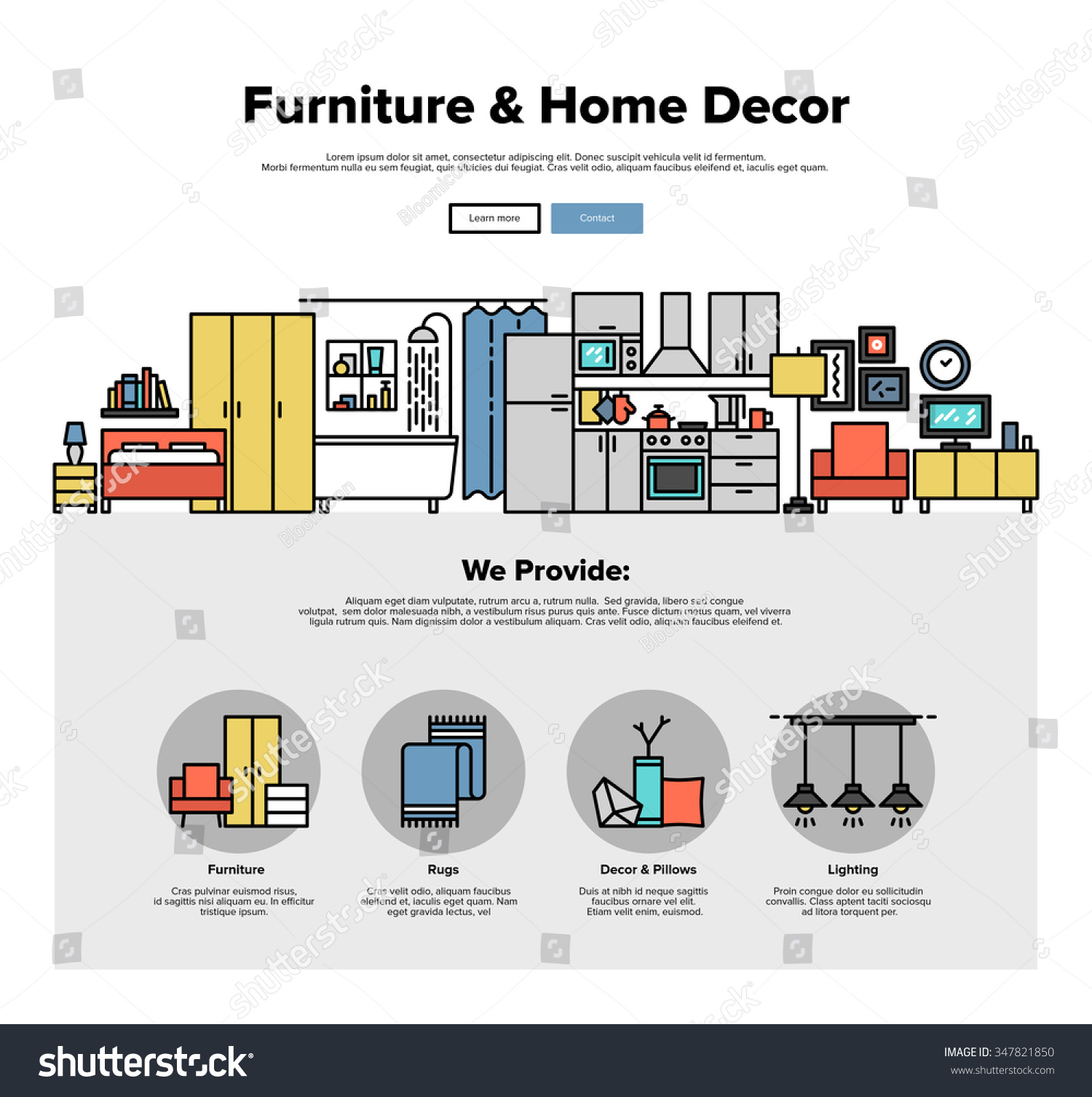 One Page Web Design Template With Thin Line Icons Of Home Interior Learn  Web Design50 TopDrawer Part 26
