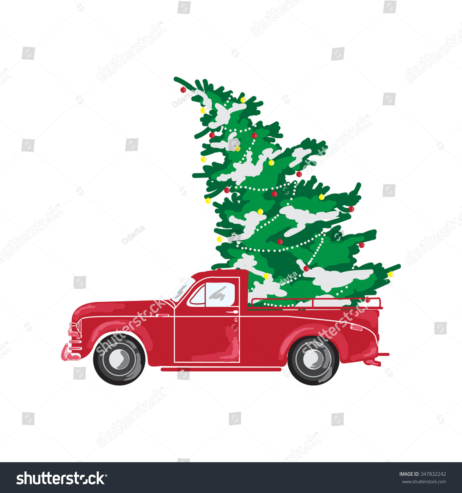 Christmas Tree Pick Up.Picture Red Car Christmas Tree Christmas Stock Vector
