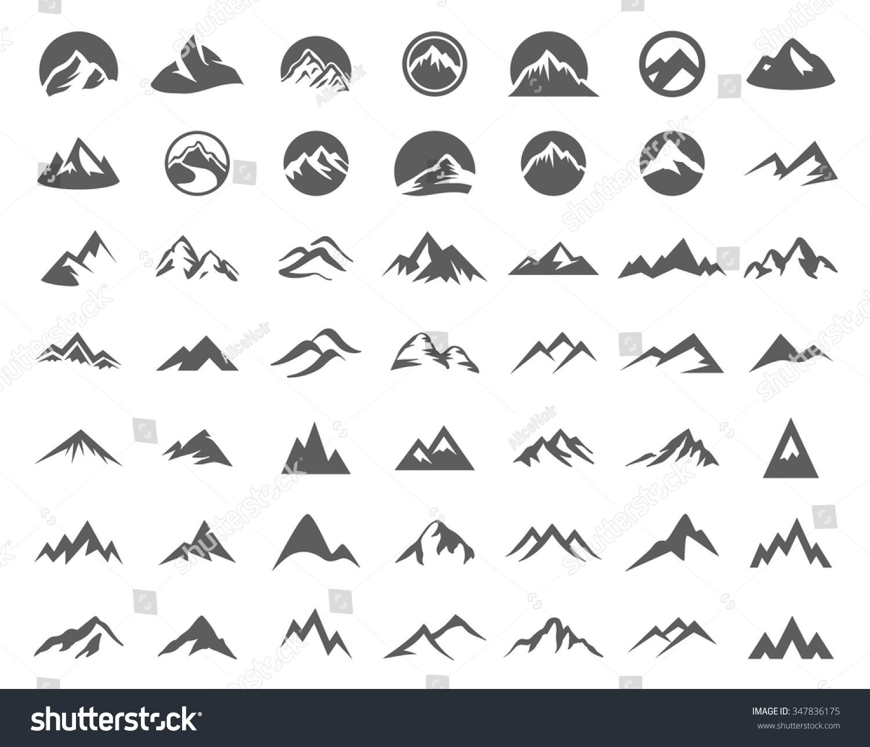 Royalty Free Mountains Logo Illustration Set 347836175