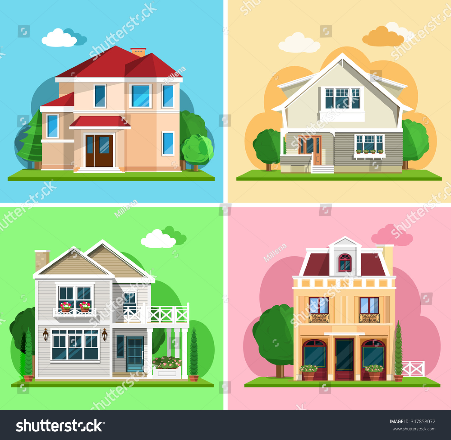 Set detailed colorful cottage houses flat stock vector for House structures pictures