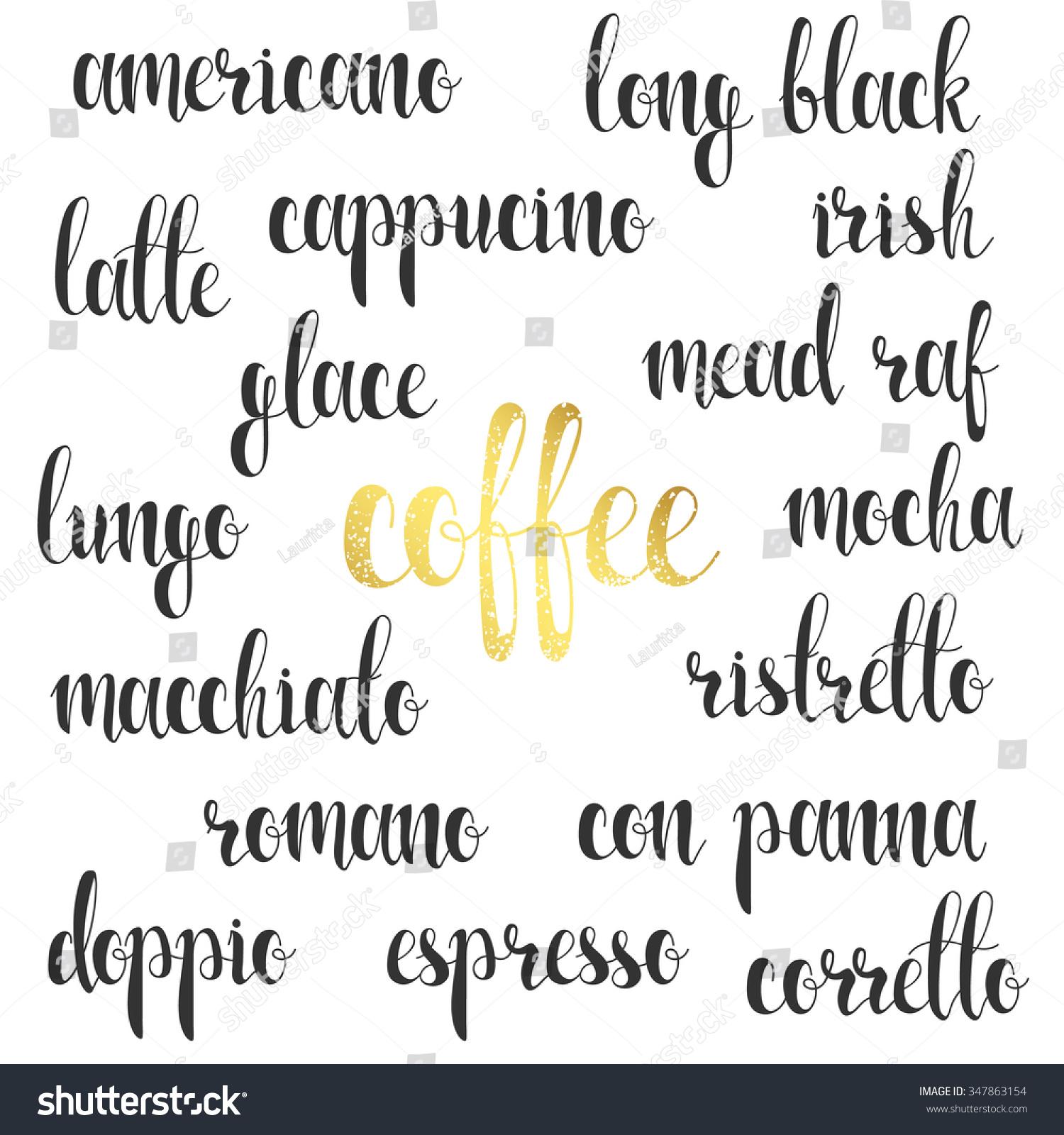 Set names of species coffee in calligraphy handmade design