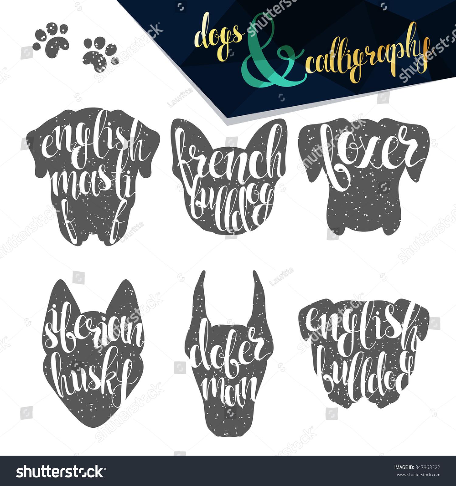 Set names dog breeds in calligraphy handmade design