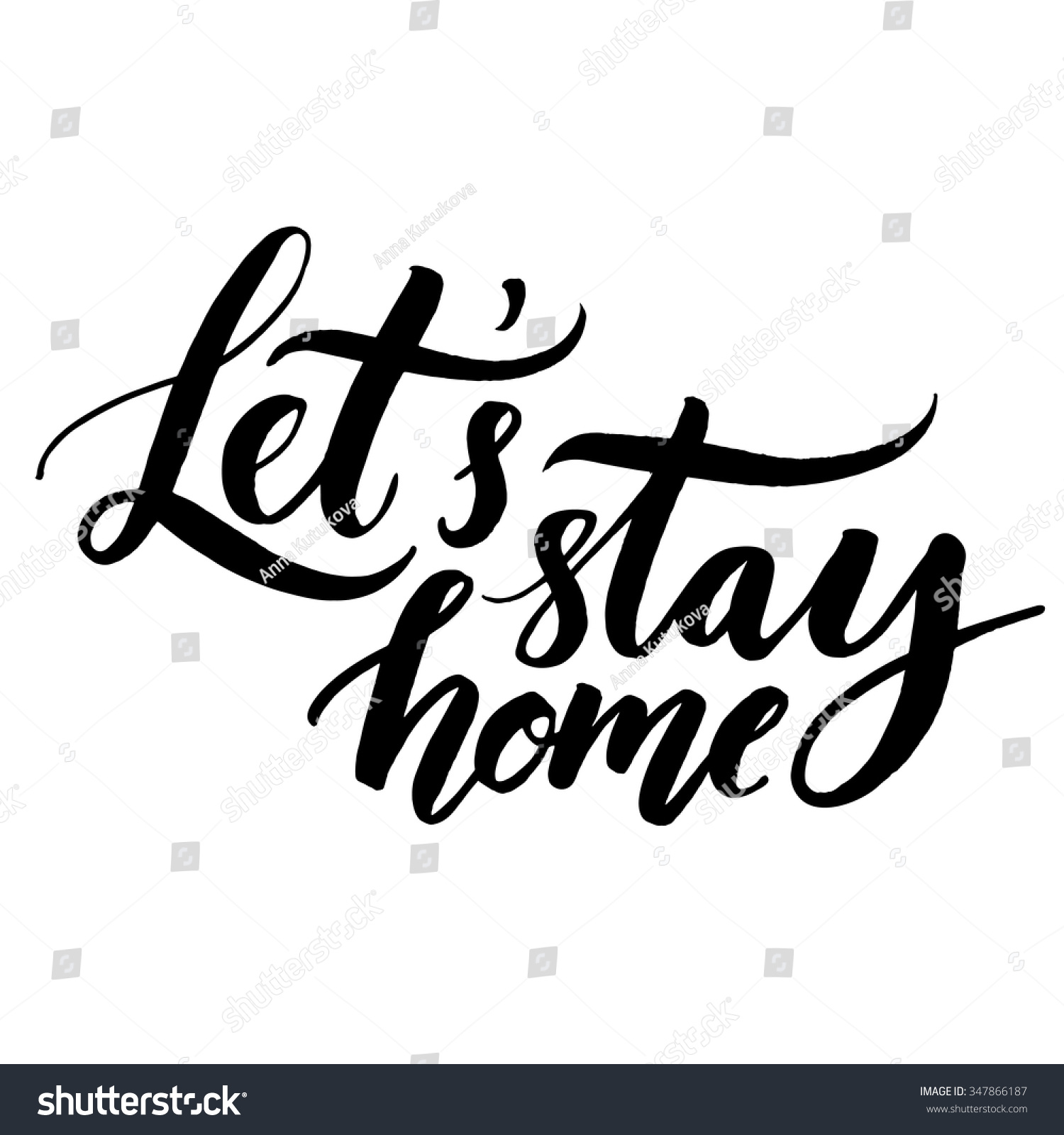 Lets stay home vector quote handwritten stock