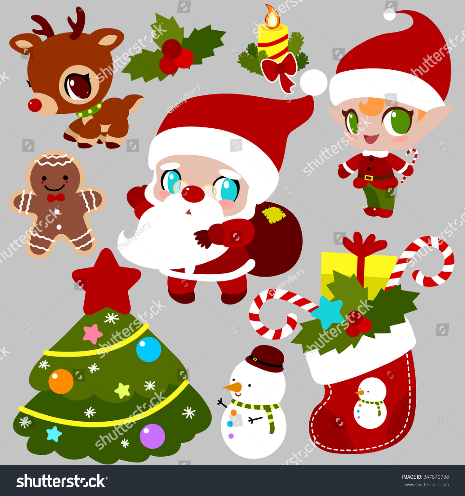 christmas set santa claus santas elf stock vector 347870798