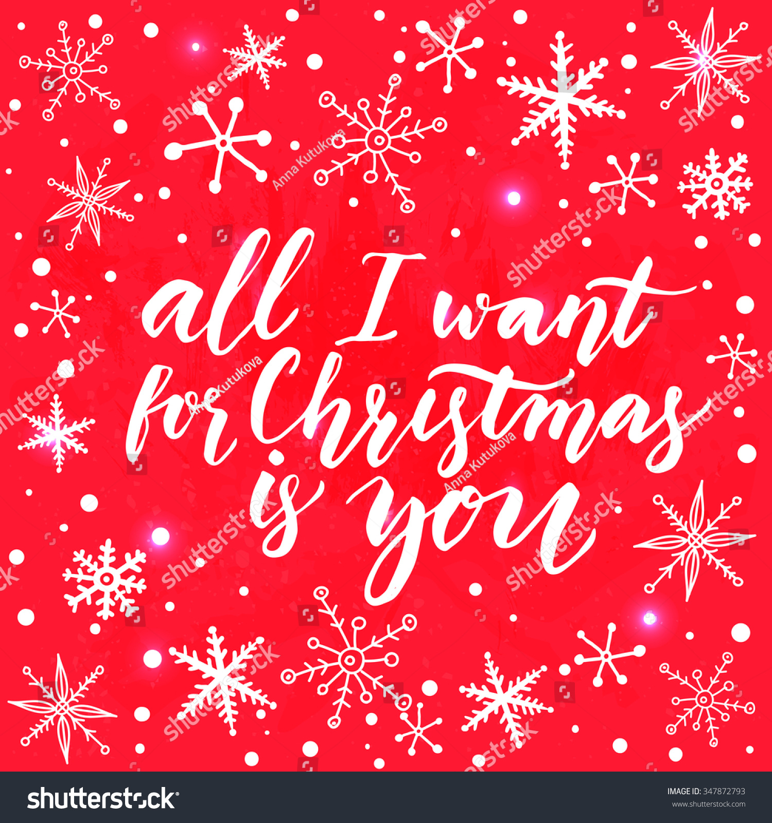 All Want Christmas You Inspirational Quote Stock Vector Royalty