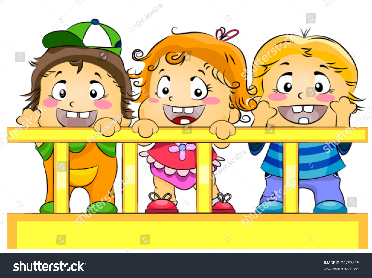 Baby cribs for daycare centers - Toddlers In Crib Day Care Vector