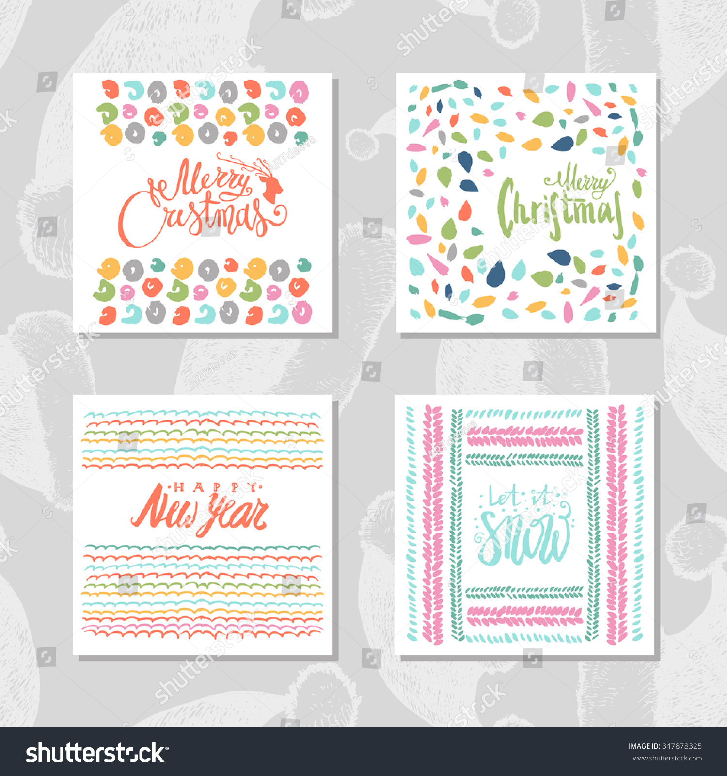 Beautiful Set Christmas Cards Lettering Wishes Stock Vector (Royalty ...