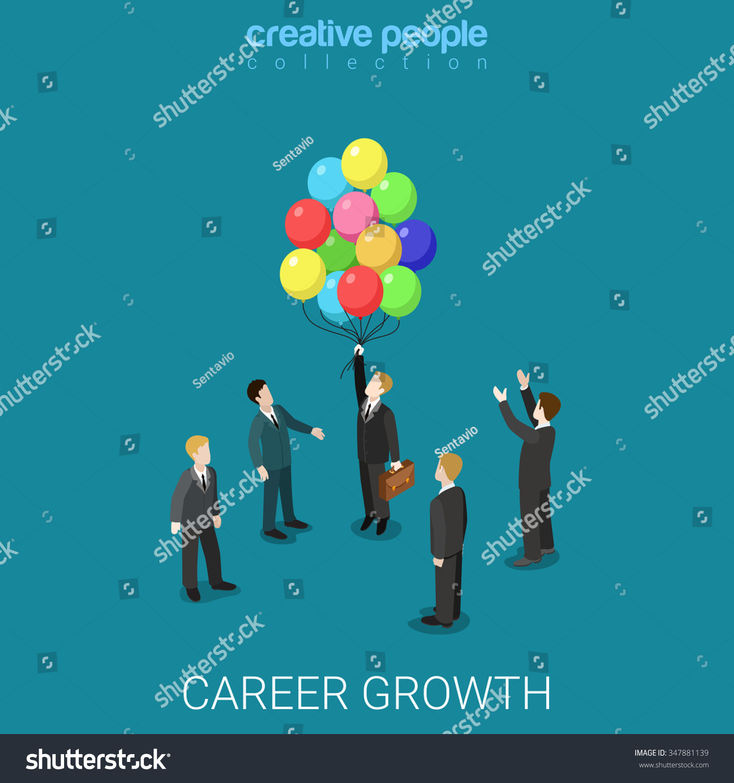 career growth job change flat d stock vector shutterstock career growth job change flat 3d isometry isometric business headhunting concept web vector illustration businessman