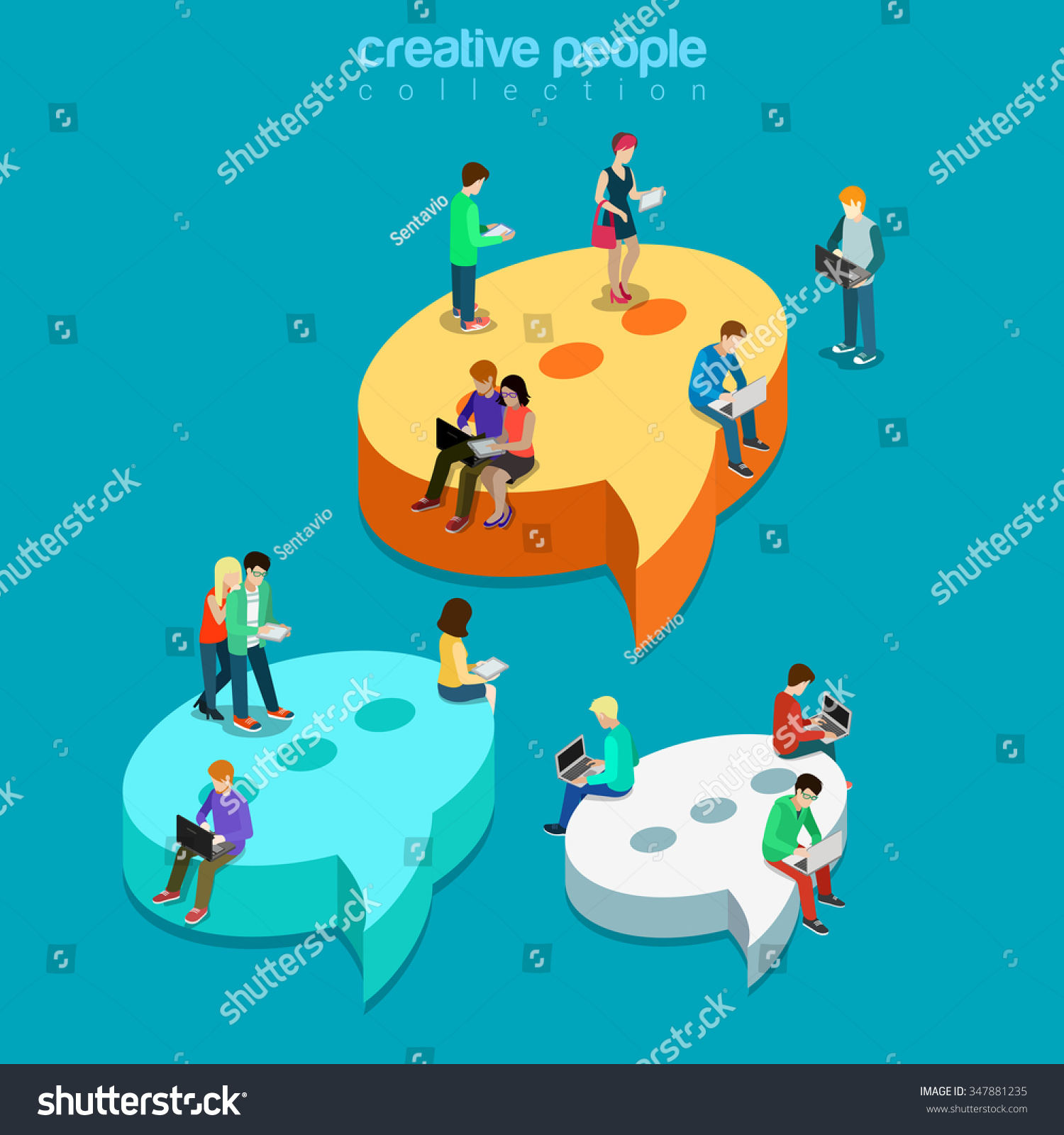 Chat messaging communication flat 3D isometry isometric concept web vector illustration Message bubbles and young joyful male female sitting laptop tablet phone Creative technology people collection