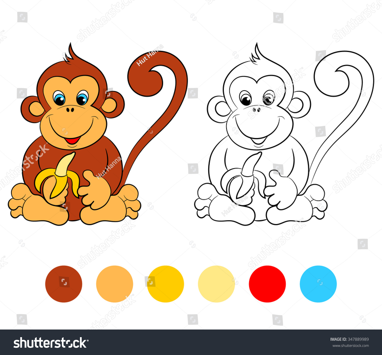 Coloring Book Monkey Kids Layout Game Stock Photo (Photo, Vector ...