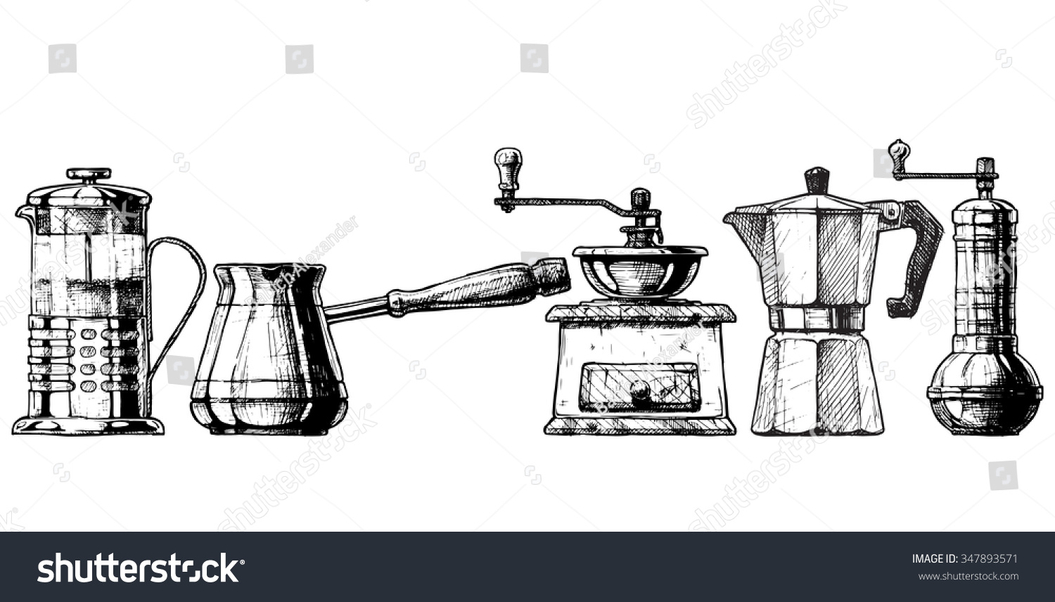 Coffee Grinder Drawling ~ French press cezve old fashioned manual burr mill coffee