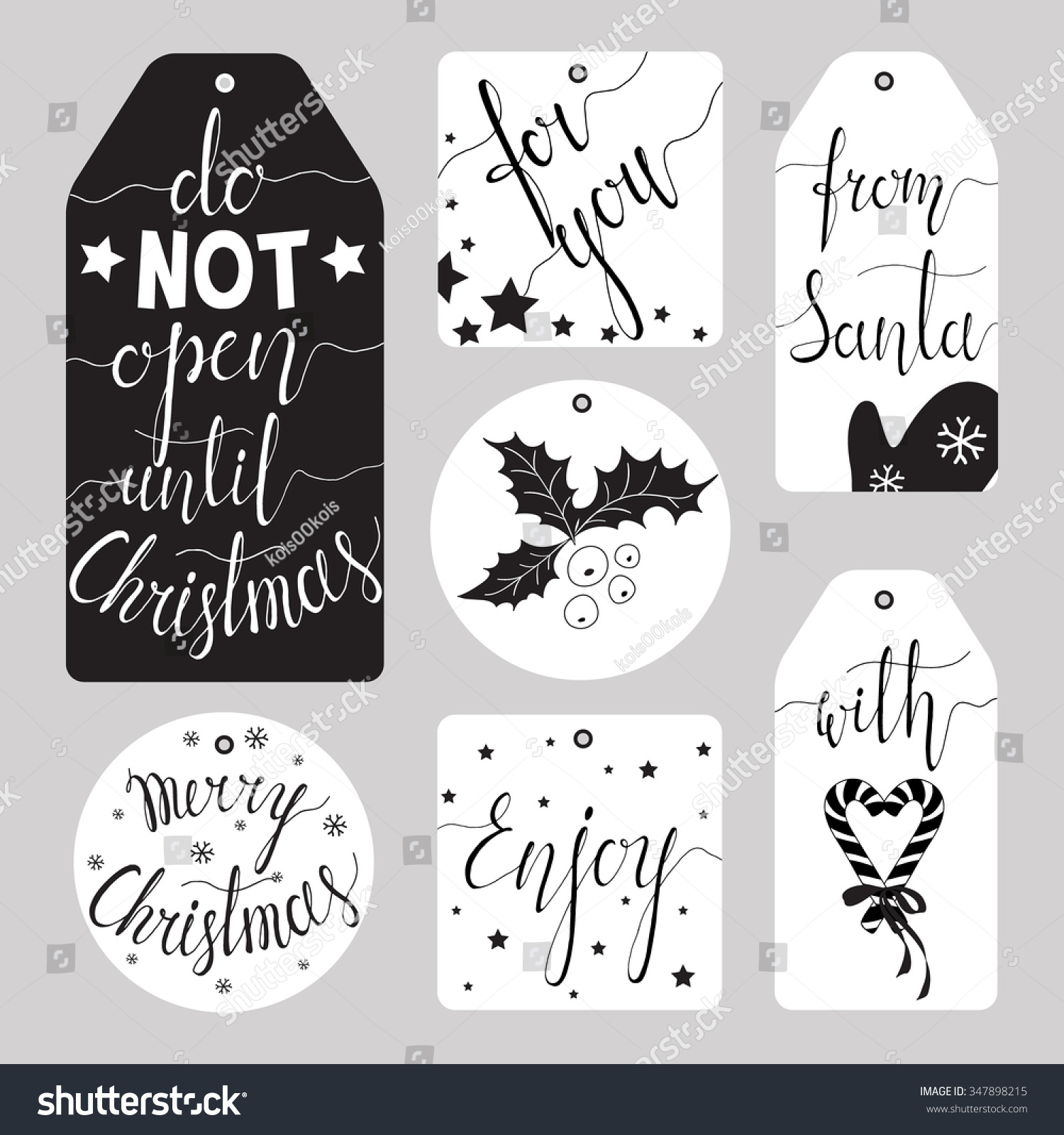 Elegant Christmas Gift Tag Collection Ink Stock Vector Royalty Free 347898215
