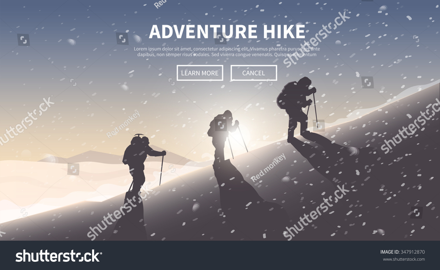 Flat vector banner on the theme of Climbing Trekking Hiking Mountaineering Extreme sports outdoor recreation adventure in the mountains vacation Achievement The Alps