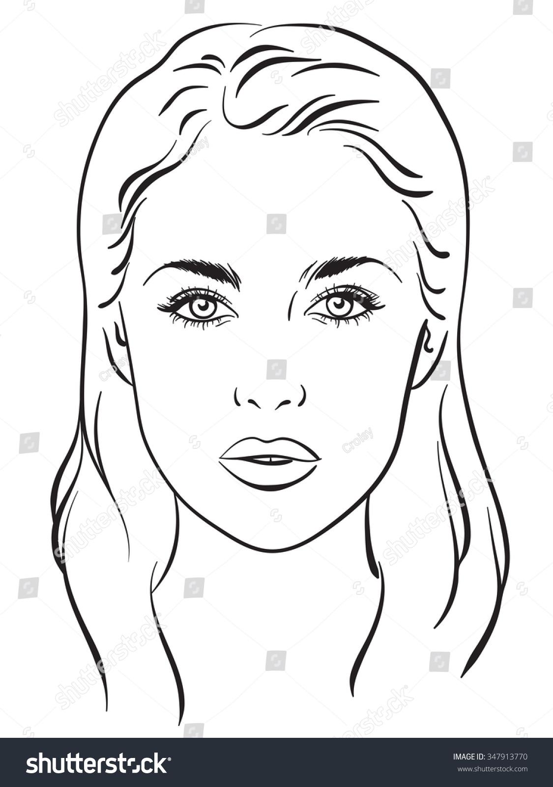 Beautiful Woman Portrait Face Chart Makeup Stock Vector ...