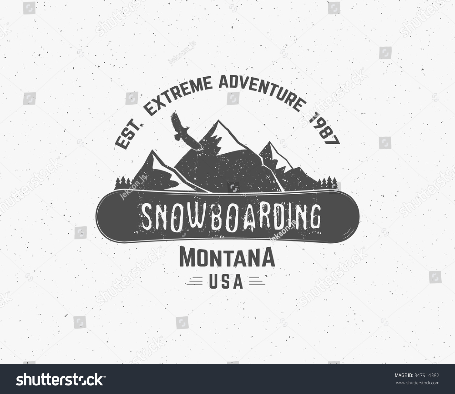 Snowboarding Extreme Logo Label Templates Winter Stock Vector ...