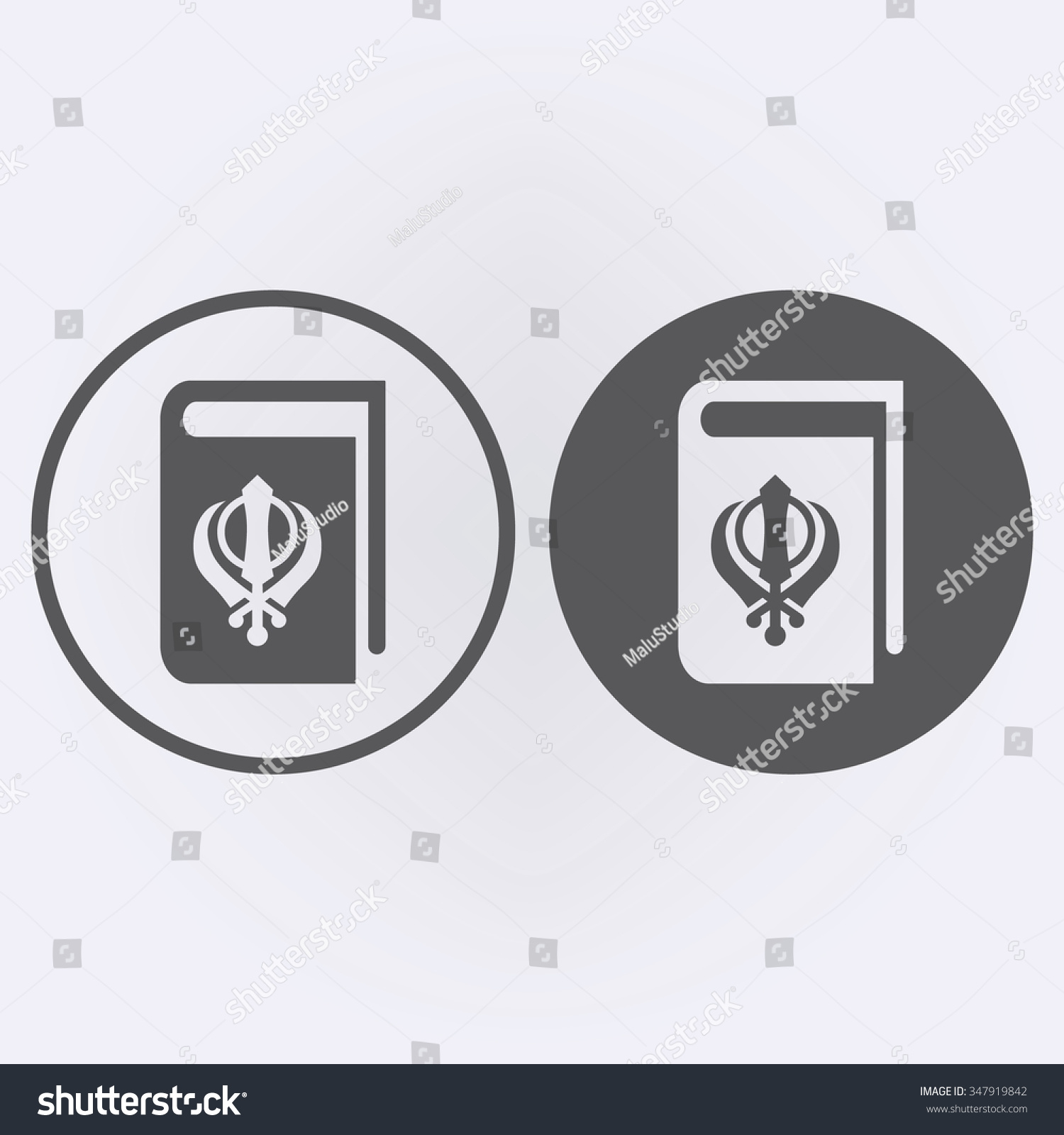 Sikhism Book Icon Set Circle Book Stock Vector 347919842 Shutterstock