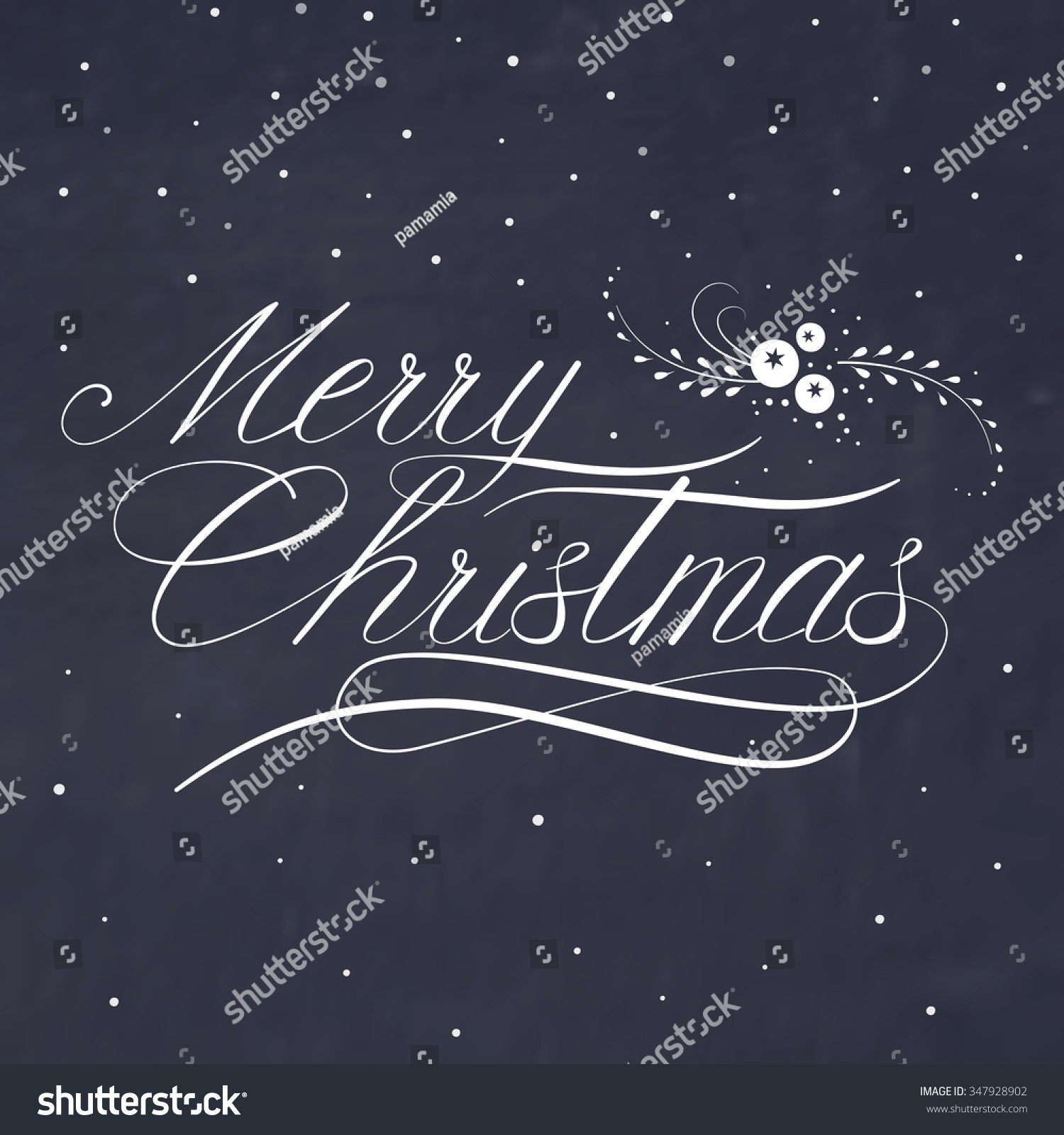 Merry Christmas Card Template Greetings Lettering Stock Vector ...