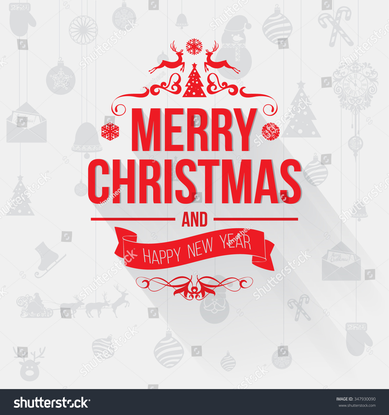 Merry Christmas Greetings Card Red Letters Stock Vector Royalty