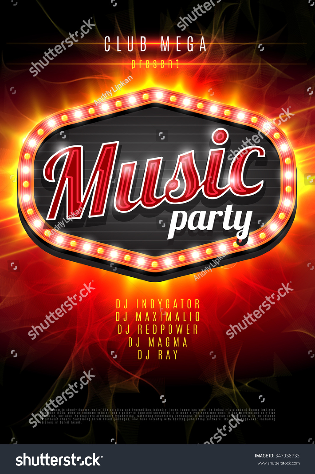Abstract music party background for music event design. Retro light frame on red flame background. vector illustration
