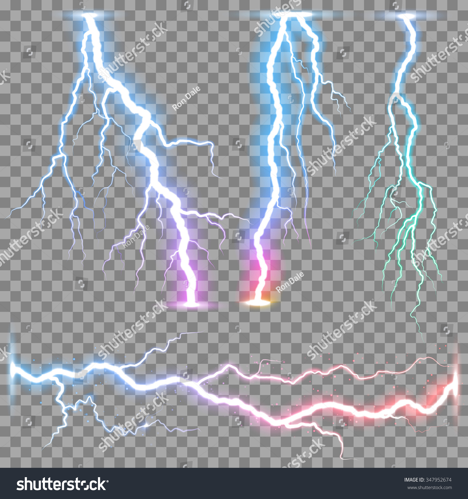 Lightning Rainbow Photo Tucson Stock Vector Vector Realistic Lightnings Thunderbolt On Transparent