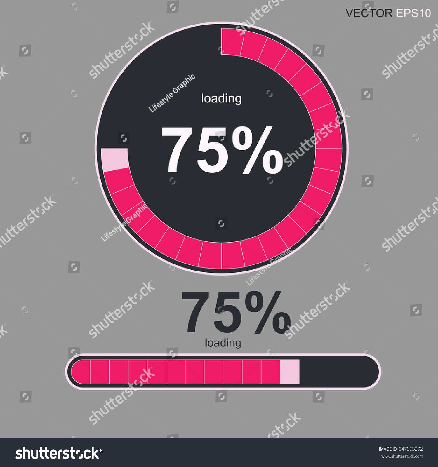 Loading bars spinner loading 75 text stock vector 347953292 loading bars and spinner with loading 75 text vector abstract symbol for biocorpaavc Image collections