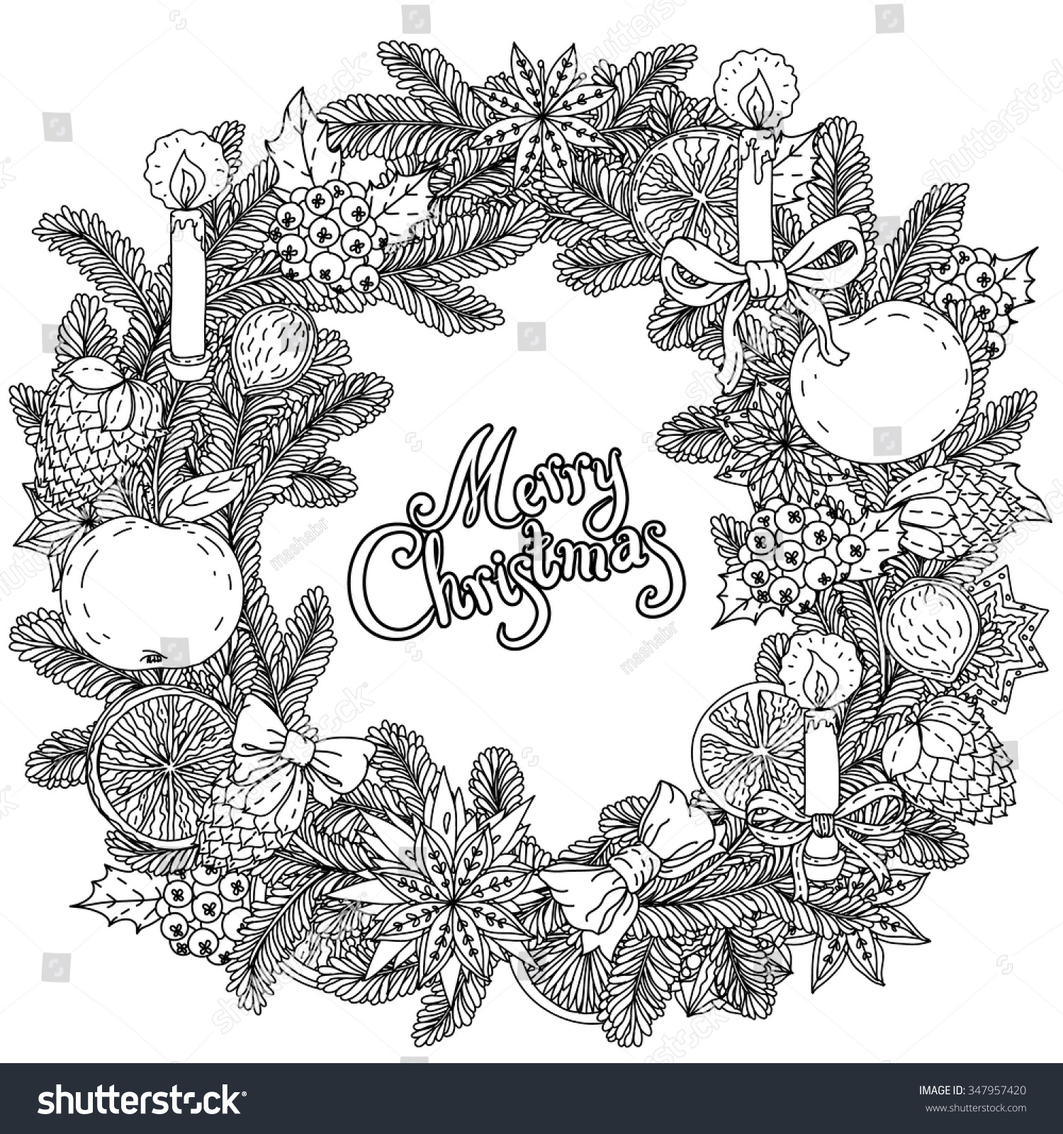 Christmas Wreath With Decorative Items Hand Drawing Includes Text Merry Black And