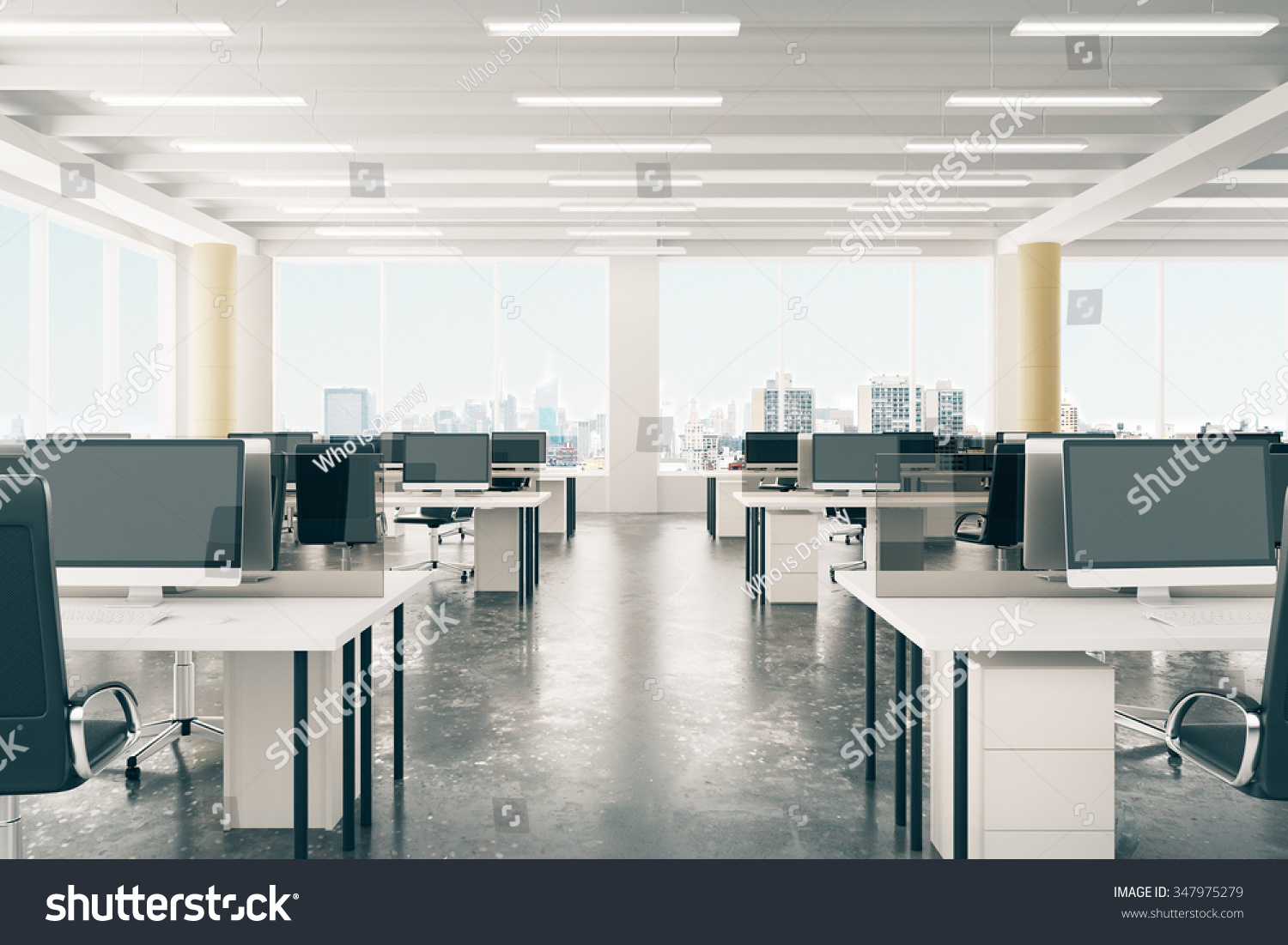 open space office loft style hangar stock photo 347975279 shutterstock. Black Bedroom Furniture Sets. Home Design Ideas