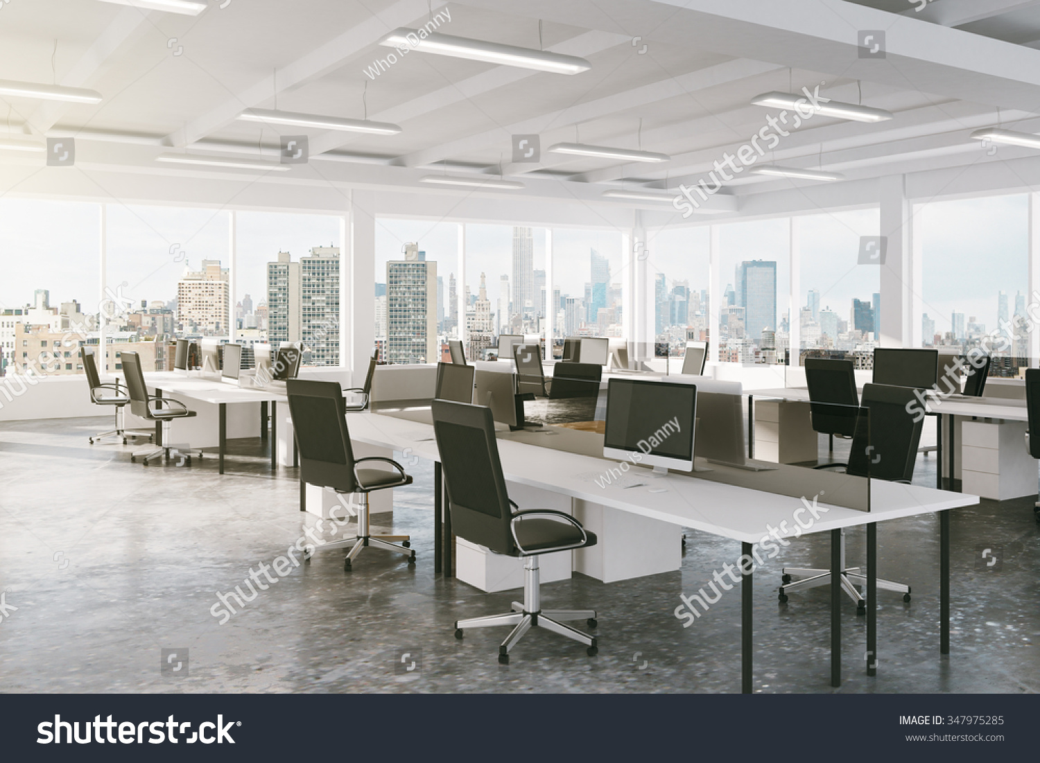 Modern open space office city view stock photo 347975285 for Bureau open space dimension