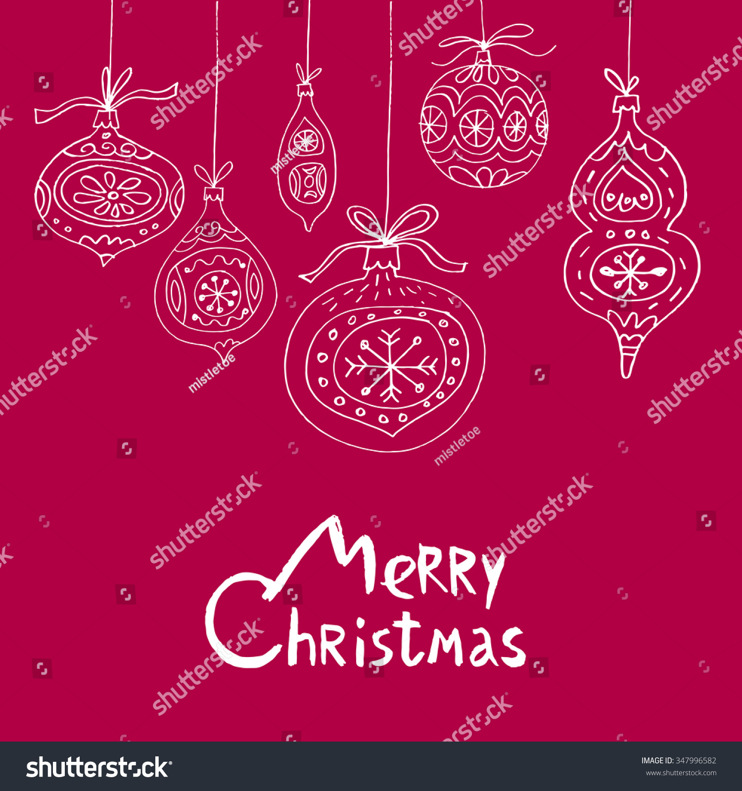 Unique Hand Drawn Christmas Greeting Card Stock Vector Royalty Free