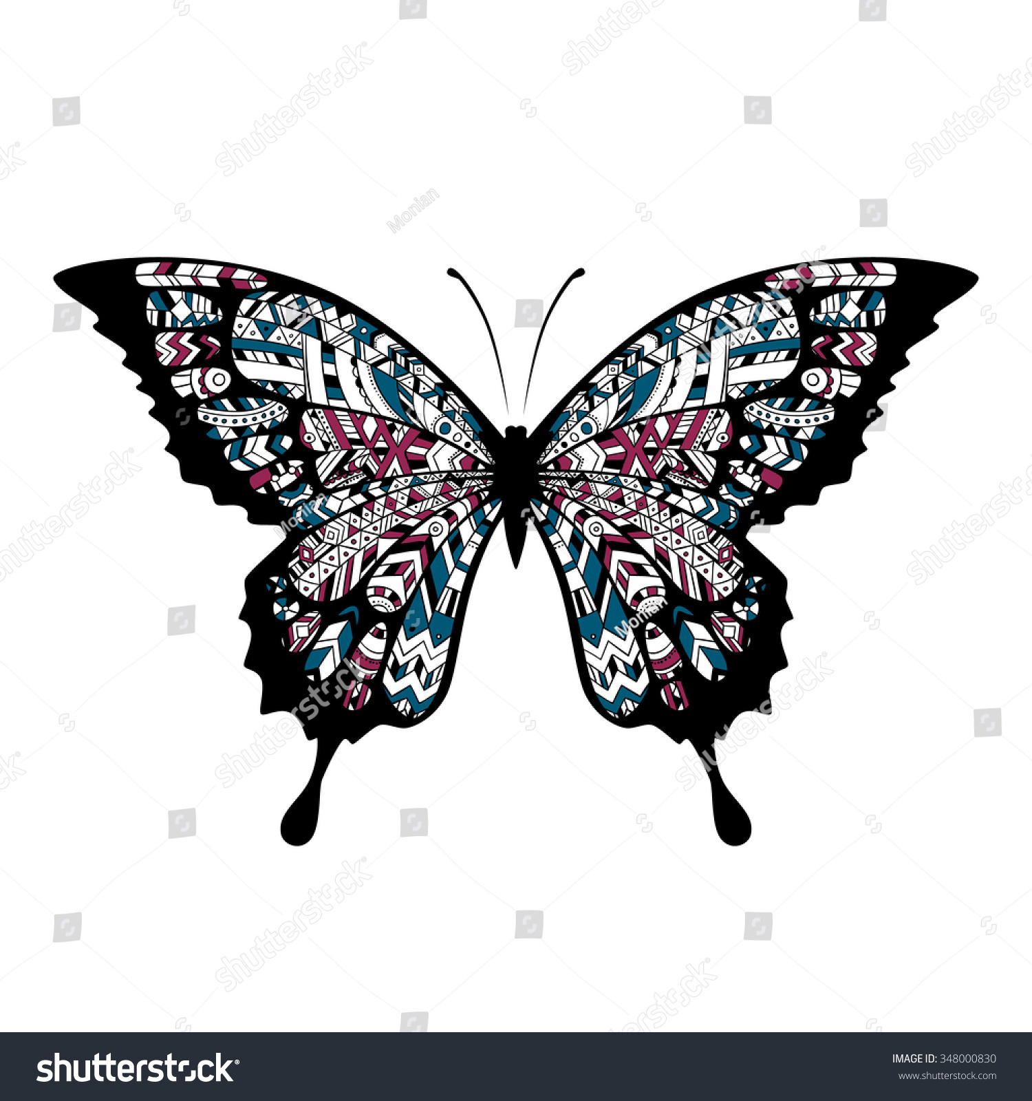 decorative boho butterfly tattoo indian cherokee apache warrior style t shirt print vector. Black Bedroom Furniture Sets. Home Design Ideas