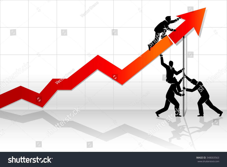 teamwork line graph abstract business concept men stock vector