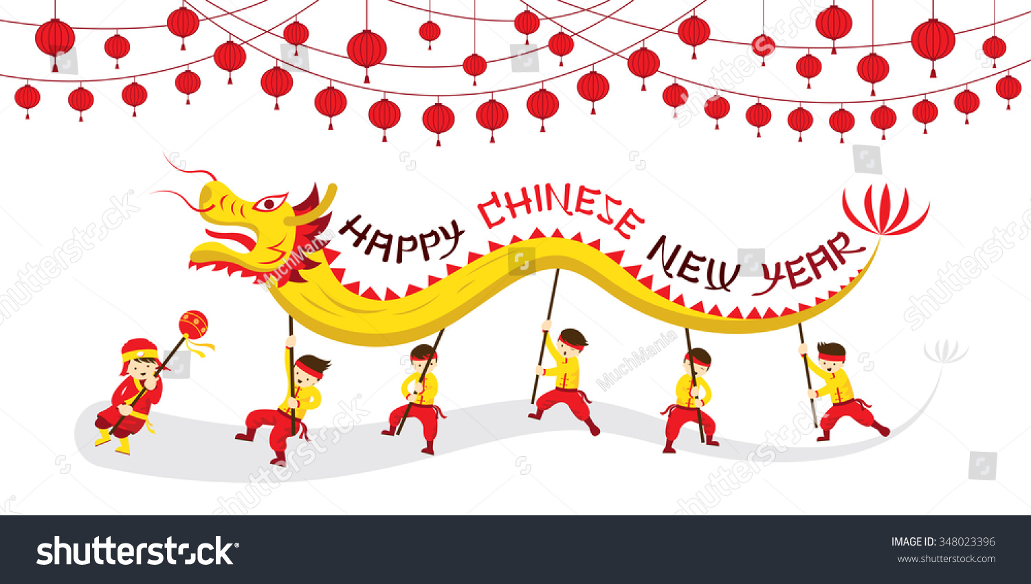 Chinese New Year Dragon Dancing Traditional Stock Vector 348023396 ...