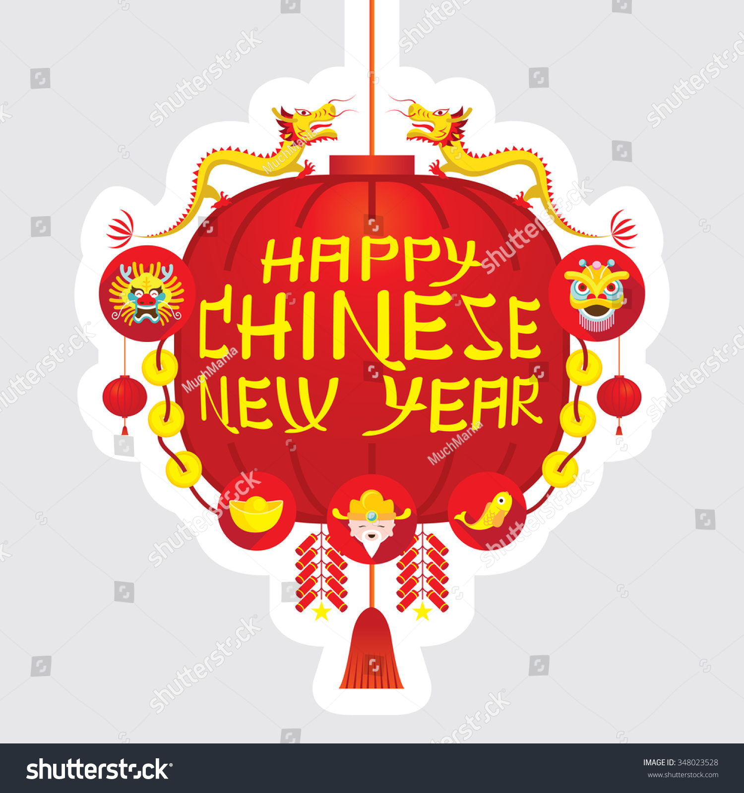 Chinese New Year Red Lantern Decoration Stock Vector ...
